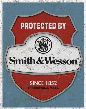 Plechová ceduľa S&W - protected by