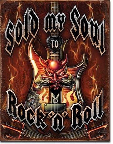 Plechová cedule Sold Soul to Rock n Roll