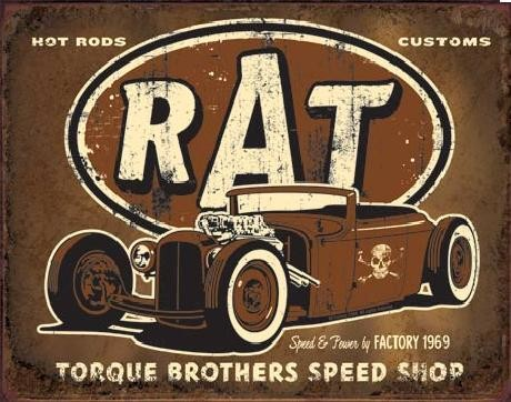Plechová ceduľa TORQUE - Rat Rod