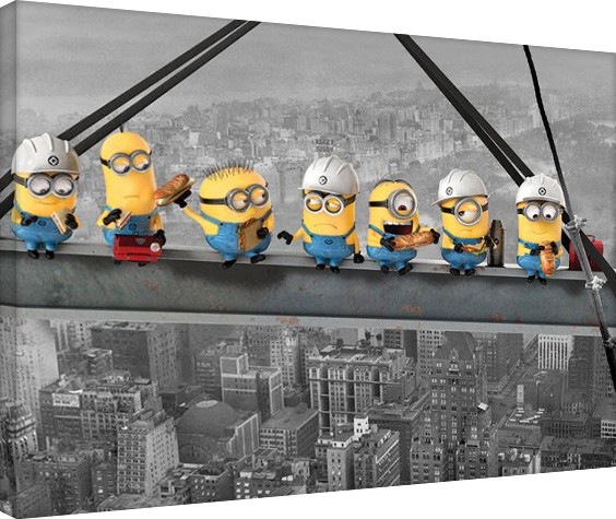 Minionki (Despicable Me) - Minionki Lunch on a Skyscraper Obraz na płótnie