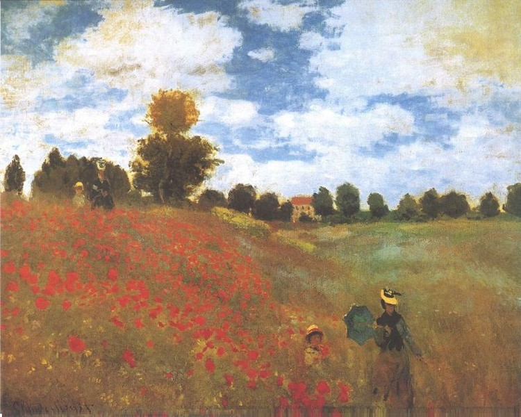 Εκτύπωση έργου τέχνης Poppies, Poppy Field, 1873