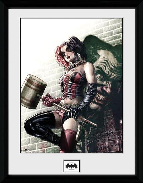 Inramad poster Batman Comic - Harley Quinn Hammer