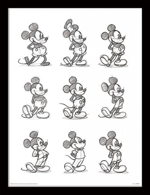 Inramad poster Musse Pigg (Mickey Mouse) - Sketched Multi