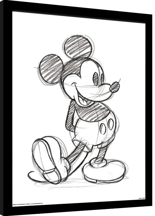 Inramad poster Musse Pigg (Mickey Mouse) - Sketched Single