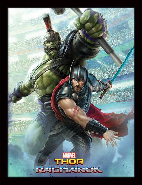 Thor Ragnarok - Thor And Hulk Inramad poster