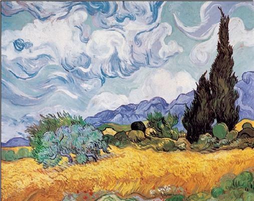A Wheatfield with Cypresses, 1889 Kunstdruk