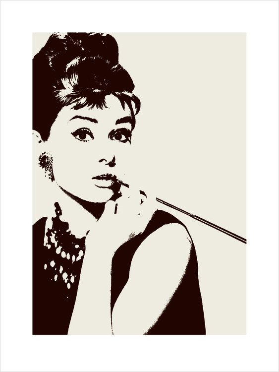 Audrey Hepburn - cigarello Kunstdruk