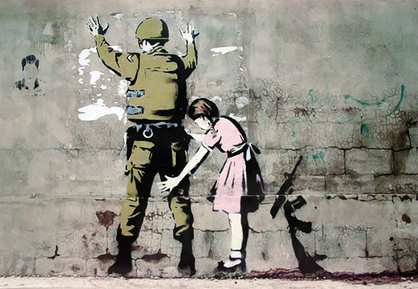 Poster Banksy street art - Graffiti Soldier and girl