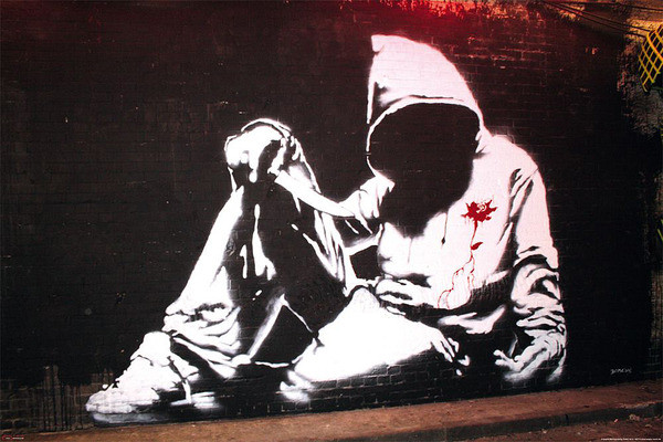 Banksy street art - hoodie Poster
