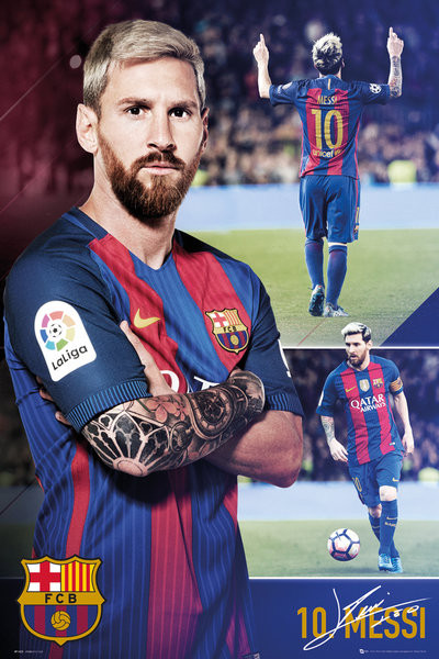Poster  Barcelona - Messi collage 2017