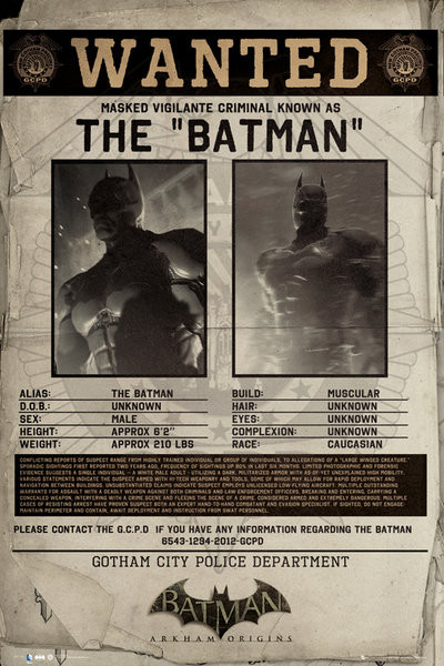 Poster BATMAN ORIGINS - wanted