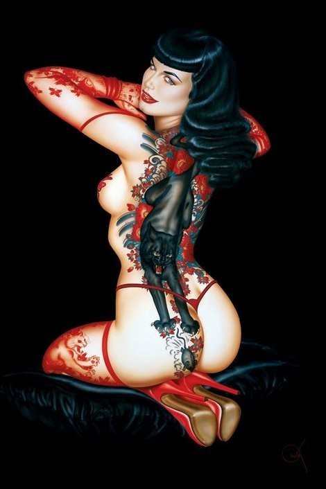 Bettie Page - tattoo Poster / Kunst Poster