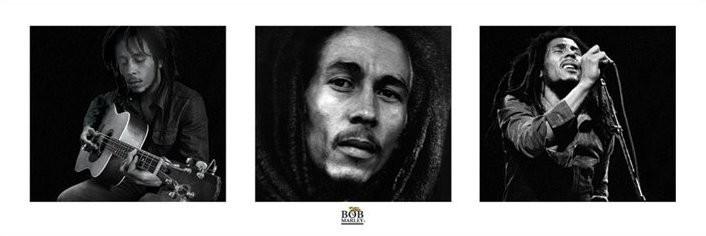 Bob Marley - 3 images (Zwart Wit) Poster