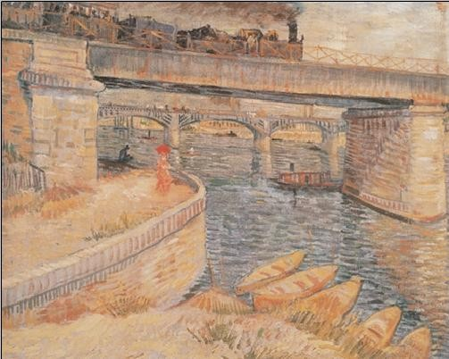 Bridge across the Seine at Asnieres, 1887 Kunstdruk