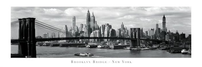 poster quadro brooklyn bridge new york su. Black Bedroom Furniture Sets. Home Design Ideas