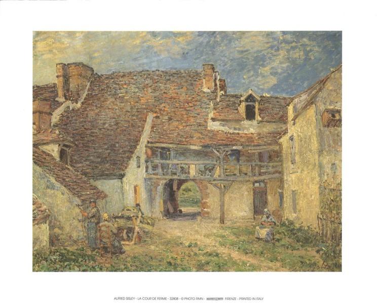 Courtyard of Farm at St. Mammes, 1884 Kunstdruk