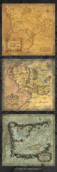Poster Der Herr der Ringe - Karte von Mittelerde