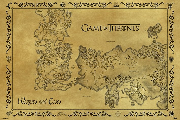 Poster Game of Thrones - Antik Karta över Westeros