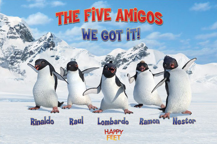 Póster  HAPPY FEET - the five amigos