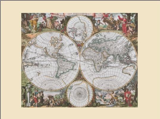 Historische Wereldkaart - Wandkaart Kunstdruk