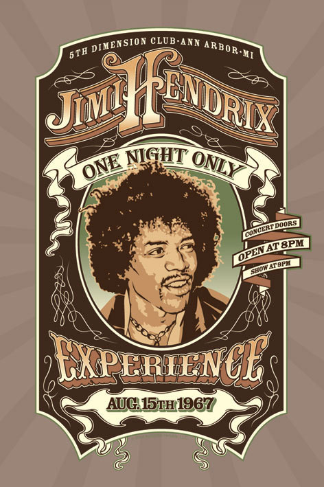 Poster Jimi Hendrix - one night only