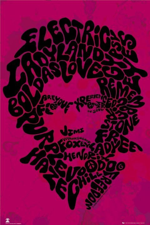Poster Jimi Hendrix - song titles