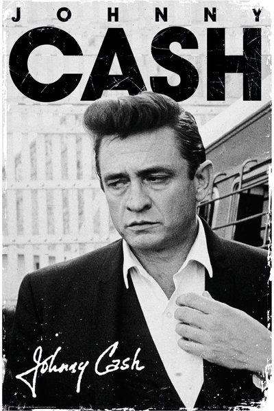 johnny cash  Poster, Quadro Johnny Cash - signature su