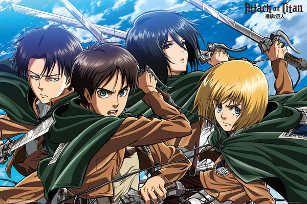 Poster l 39 attacco dei giganti shingeki no kyojin four for Poster giganti