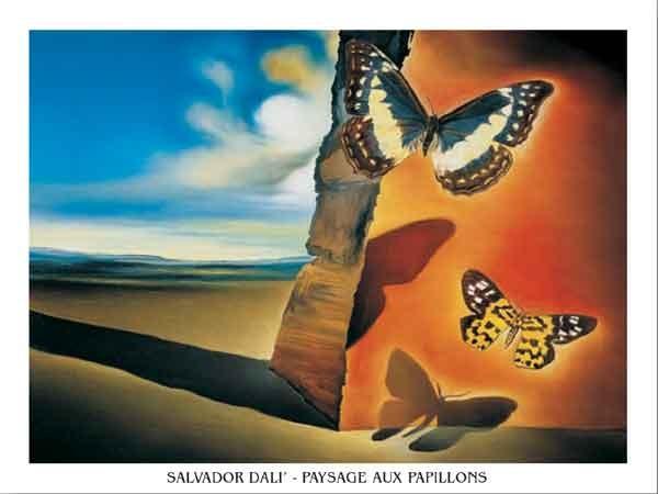 Landscape with Butterflies, 1956 Kunstdruk