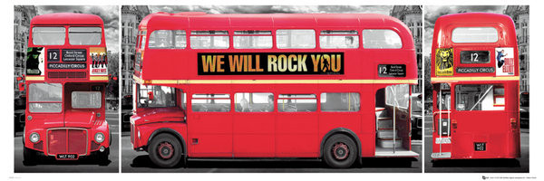 Londen - bus triptych Poster / Kunst Poster