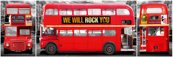 London Bus Triptych Poster Plakat 31 Gratis Bei Europosters