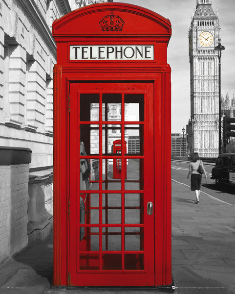 Poster Londra - phoneboxes
