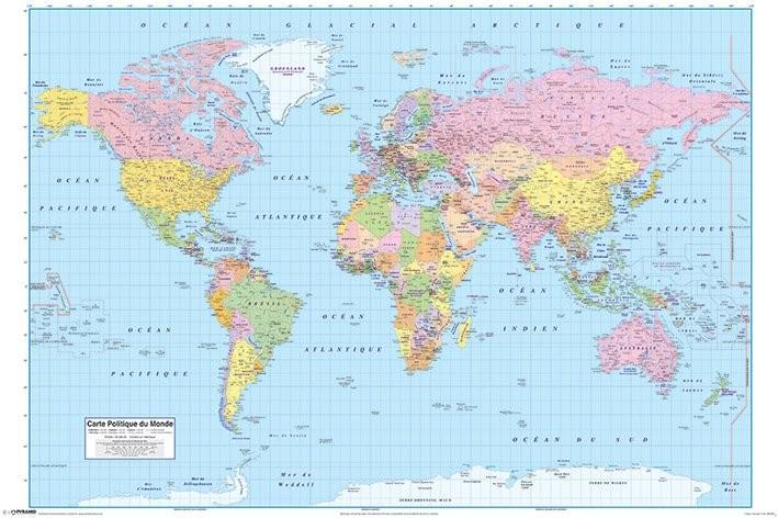 Poster quadro mappa del mondo politica fr su - Mappa del mondo contorno ks2 ...