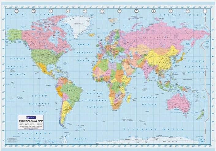 Poster quadro mappa del mondo politica grande su - Mappa del mondo contorno ks2 ...