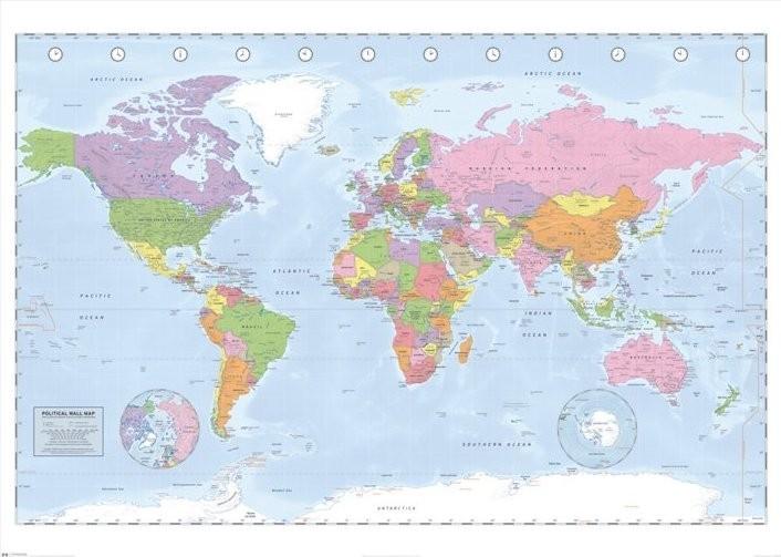 Cartina Del Mondo On Line.Poster Quadro Mappa Del Mondo Politica Grande Su Europosters