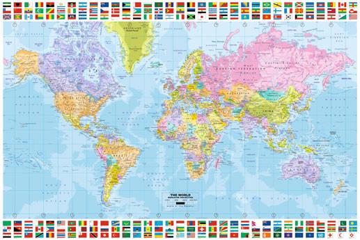Cartina Del Mondo Politico.Poster Quadro Mappa Del Mondo Politica Su Europosters It