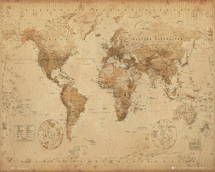 Poster  Mappa del Mondo - stile antico