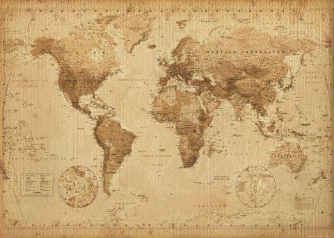 Poster quadro mappa del mondo stile antico su - Foto della mappa del mondo da stampare ...