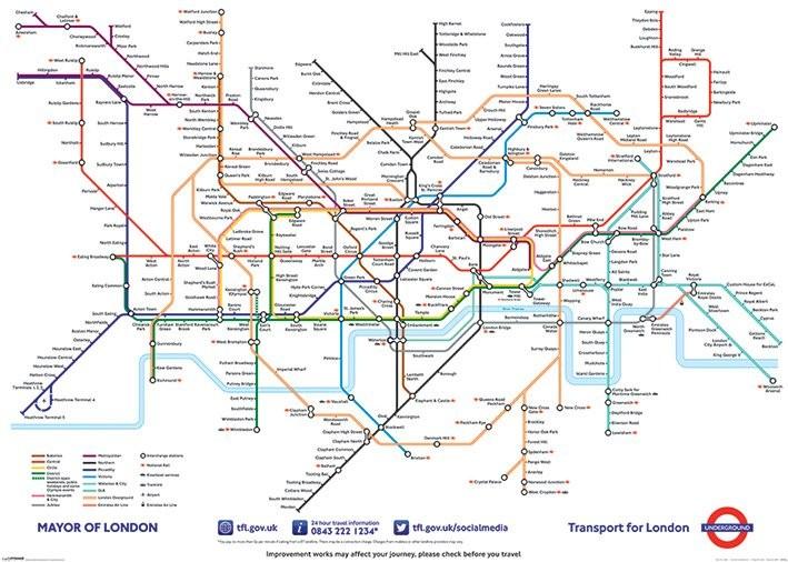Cartina Di Londra Da Stampare.Poster Quadro Mappa Metropolitana Di Londra Su Europosters