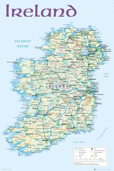 Cartina D Irlanda.Poster Quadro Mappa Politica Della Repubblica D Irlanda Su Europosters It