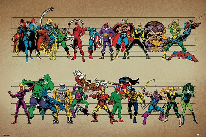 Póster  Marvel Comics - Line Up