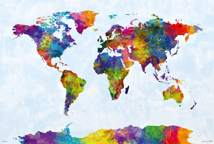 Michael Tompsett - Watercolor World Map Poster, Plakat | 3+1 GRATIS ...