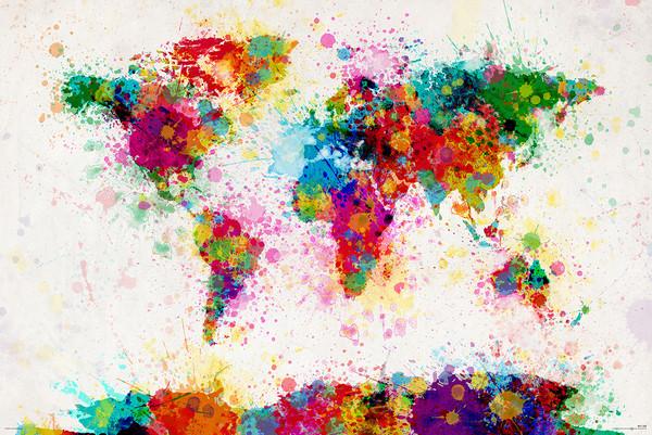 Poster Michael Tompsett - World map