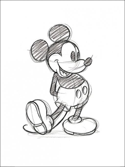 Kunst Reproductie Mickey Mouse - Sketched Single - Kunstdruk ...