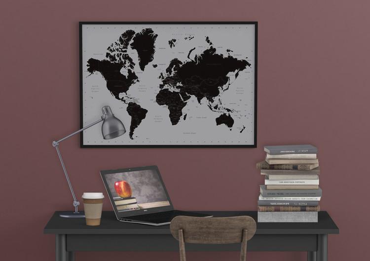 Moderne Wereldkaart - Wandkaart Poster