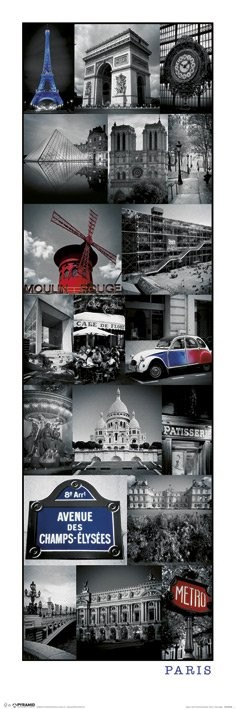 bestel de parijs collage poster op. Black Bedroom Furniture Sets. Home Design Ideas