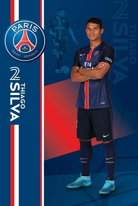 poster quadro paris saint germain fc thiago silva su. Black Bedroom Furniture Sets. Home Design Ideas
