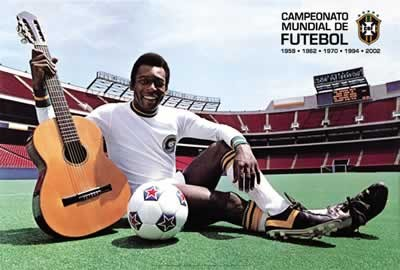 Póster  Pelé - with guitar and football