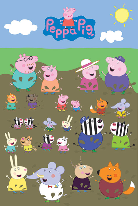 peppa wutz characters muddy puddle poster plakat 3 1 gratis bei europosters. Black Bedroom Furniture Sets. Home Design Ideas