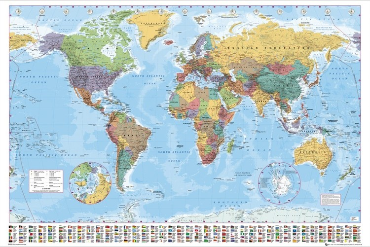 bestel de politieke wereldkaart - wandkaart poster op europosters.be